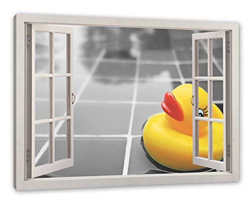 Pixxprint Quietsche Ente im Wasser, Fenster Leinwandbild  Größe: 80x60 cm   Wandbild   Kunstdruck