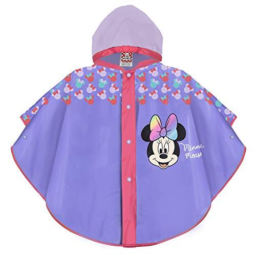 PERLETTI Mantellina Colorata Pioggia Disney Minnie - Poncho Minni Impermeabile Bambina - Mantella Antipioggia Bimba con Cappuccio e Bottoni - Materiale Eva (Lilla, 2/5 Anni)