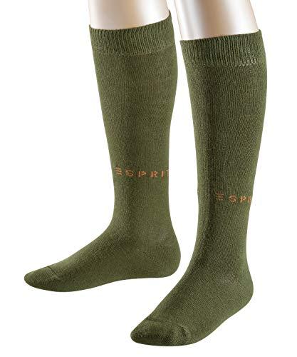 ESPRIT Foot Logo 2-Pack Kinder Kniestrümpfe dark moss (7617) 27-30 aus hautfreundlicher Baumwolle