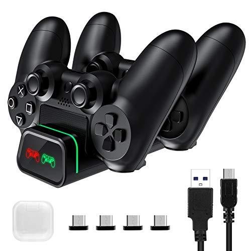 2020 Upgrade PS4 Controller Ladestation, TOPELEK Ladestation für Dockingstation mit 2 Micro-USB-Ladeanschlüssen, kompatibel mit Sony Playstation4 / PS4 / PS4 Slim / PS4 Pro