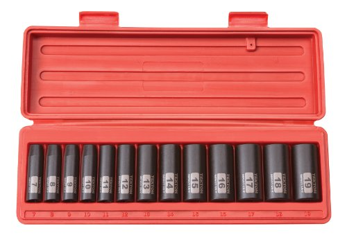 TEKTON 3/8-Inch Drive Deep Impact Socket Set, Metric, Cr-V, 12-Point, 7 mm - 19 mm, 13-Sockets   47926