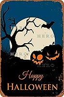 ハロウィンセクシー美女魔女かぼちゃ猫(さびた錫のサインヴィンテージアルミニウムプラークアートポスター装飾面白い鉄の絵の個性安全標識警告アニメゲームフィルムバースクールカフェ40cm*30