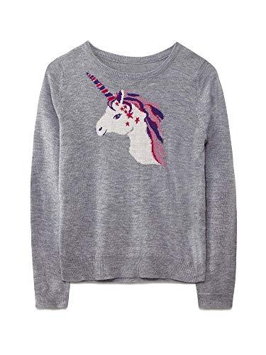 Yumi Girl Grey Unicorn Star Jumper