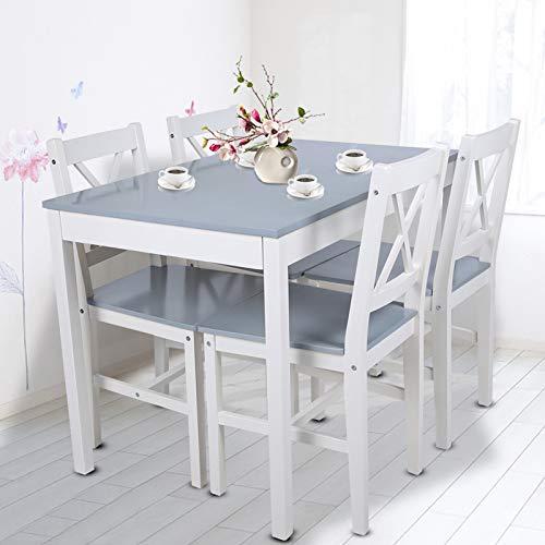 Dioche Juego de mesa y 4 sillas de salón, de madera, mesa de cocina + 4 sillas, salón, cocina, comedor, 108 x 65 x 73 cm (gris azulado)