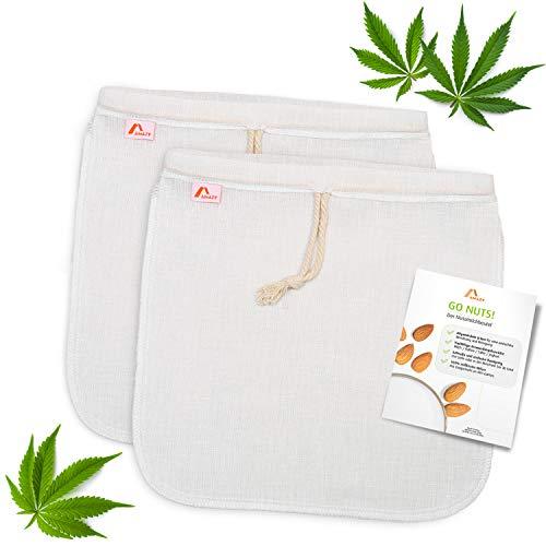 Amazy Filtro para Leche Vegetal (2 Bolsas | 30x30 cm) Hecho de Cañamo – Bolsa Ideal para Bebida Vegetal, zumos y Batidos de Frutas y Verduras