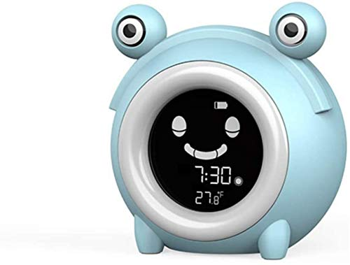 Qfeng Wekker voor Kinderen, Slaap Training Klok met 7 Kleuren Nachtlicht, 6 Alarm Ringen, NAP Timer, Leer Kinderen Tijd om Wakker, Oplaadbare Batterij USB Opladen Klok voor Jongens Meisjes Slaapkamer (Bl