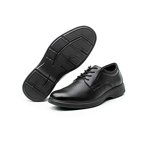 Flexi Mens Black Leather Derby Oxford Style Dress Shoes - Casual Lace Up Ankle | 59301 (9, Black)