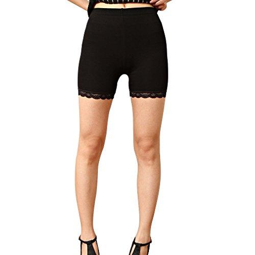 Liang Rou Damen Elasthan Kurz Leggings mit Spitzenbesatz Farbe Schwarz M