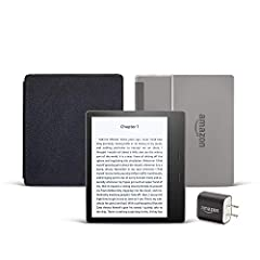 "Includes the latest Kindle Oasis with Special Offers, 8 GB, Wi-Fi, Graphite, Amazon Leather Cover (Black), and Power Adapter. Our best 7"", 300ppi flush-front Paperwhite display. Adjustable warm light to shift screen shade from white to amber. Waterpr..."