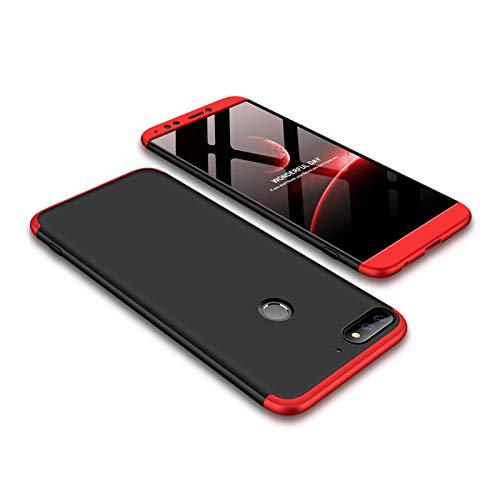 Ququcheng Kompatibel mit Huawei Y7 2018/Honor 7C Hülle,3 in 1 Ultra dünn Hard Case Schutzhülle+Panzerglas Schutzfolie 360 Grad Tasche Cover Handyhülle für Huawei Y7 2018/Honor 7C-Schwarz Rot