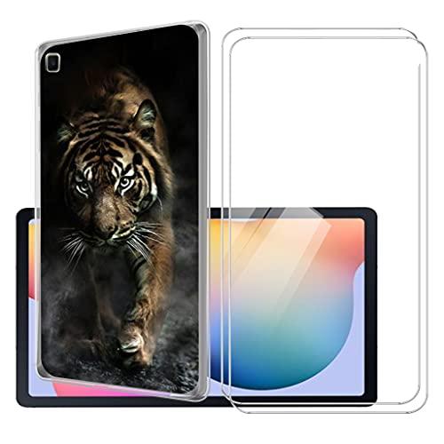 LKJMY para Samsung Galaxy Tab S6 Lite 10.4 Tableta Funda + 2 Piezas Cristal Templado,Transparente Carcasa Silicone Case Bumper,Anti-Golpes Cover Anti-Rasguño Cover Caso,Vidrio Templado-LKJB19