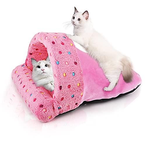 SABAN Cama para gatos, saco de dormir para gatos, cueva para gatos grandes, lavable, sacos de dormir para gatos, arena para mascotas, cama para gatos y perros, color rosa, 40 x 45 cm