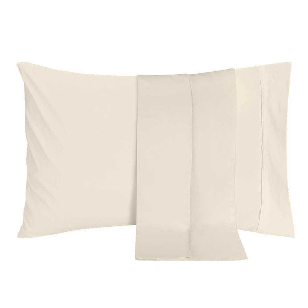 PC Diana Linen Throw Pillowcases of (65 cm x 65 cm) Square Size in Ivory Solid 2 Pcs Pillow Covers Set Made of 400 ...