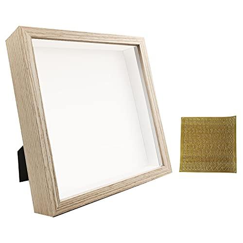 sunmeg 3D Marco de Fotos 20 x 20cm- Marco para Objetos de hasta 3cm- Portafotos Cuadrado para Colgar en la Pared o Escritorio(Color Madera, 20 x 20cm)