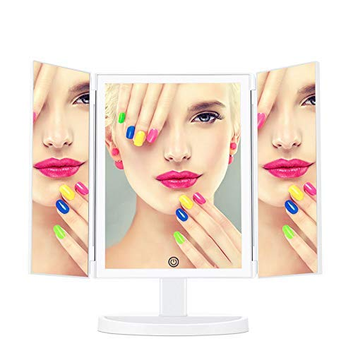 ShiSyan Foldable Makeup Mirror, Vanity Mirror Dimmable LED Lights with Wide-Angle Touch Screen And Countertop Adjustable 360 Degree Bracket