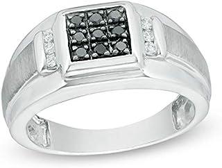 مجموعة رويال جويلز 1/3 قيراط خاتم رجالي من الفضة الإسترليني والماس الأبيض والأسود