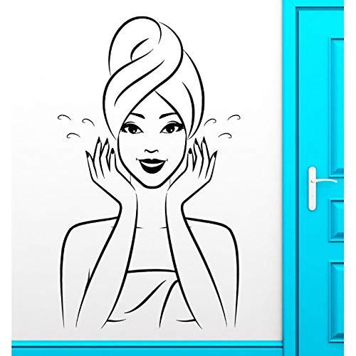 Bad Waschen Wasser Wandaufkleber Home Interior Ornament Oriental Mädchen Vinyl Wandtattoos Abnehmbare Kunst Tapete 56X96 Cm