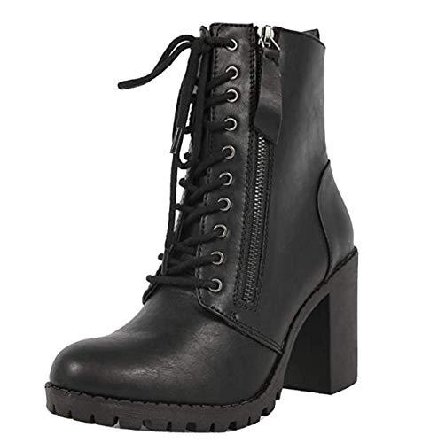 Soda Malia Round Toe Stacked Lug Heel Lace Up Ankle Booties (Black (PU), Numeric_7_Point_5)