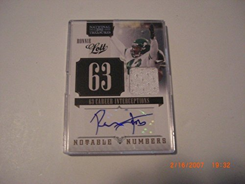 Ronnie Lott Jets 2011 National Treasures Game Used Jersey Auto 4/25 Signed Card - Football Game Used Cards
