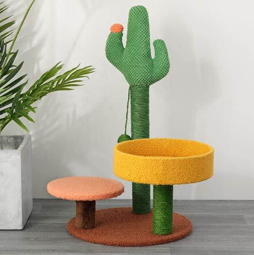 Buonlife albero Tiragraffi per gatti, Tiragraffi e cuccia a forma di cactus Albero rampicante con base robusta per gattini o gatti adulti