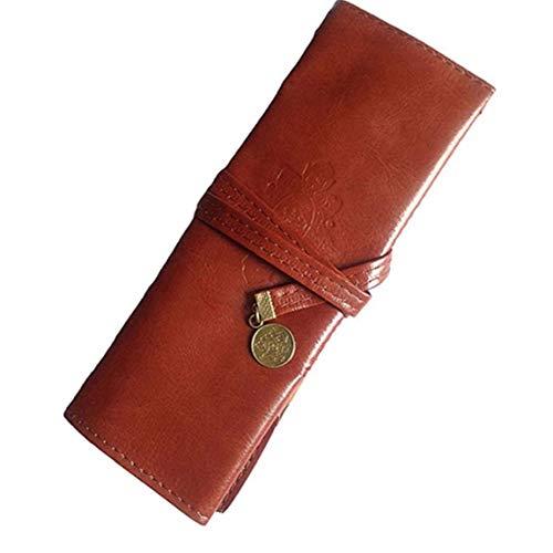 KHHGTYFYTFTY Lápiz Bolsa Bolsa de la Pluma de la Vendimia 21x8cm Cuero marrón Rueda para Arriba la Caja de almacenaje de los Efectos Retro para Office School