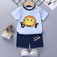 ベビーガールズサマーパジャマボーイズ幼児2点セット半袖コットンTシャツパンツパジャマキッズパジャマ子供服