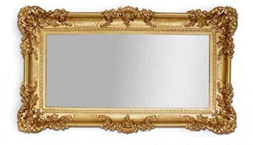 Espejo de pared de estilo barroco antiguo (97 x 57 cm), color dorado