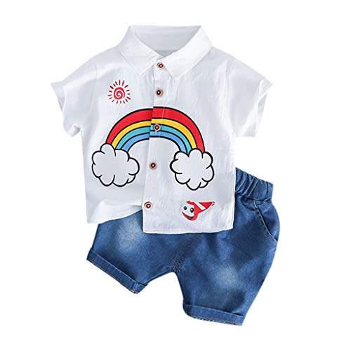 BeautyTop BeautyTop 3-24 Monate Toddler KinderSommer Kurzarm Gentleman Outfits Set 2Pcs Baby Jungen Karikatur Drucken Revers Tops + Einfarbig Shorts Neugeborenes Baby Leichte Kleidungset Zweiteiliges