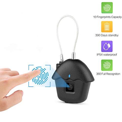 Fingerabdruck Smart Vorhängeschloss, IP54 Wasserdichtes Wiederaufladbares USB Elektronisches Sicherheits Vorhängeschloß Keyless Sicher Türschloss für Schließfächer, Büros, Rucksäcke,Gepäckkoffer