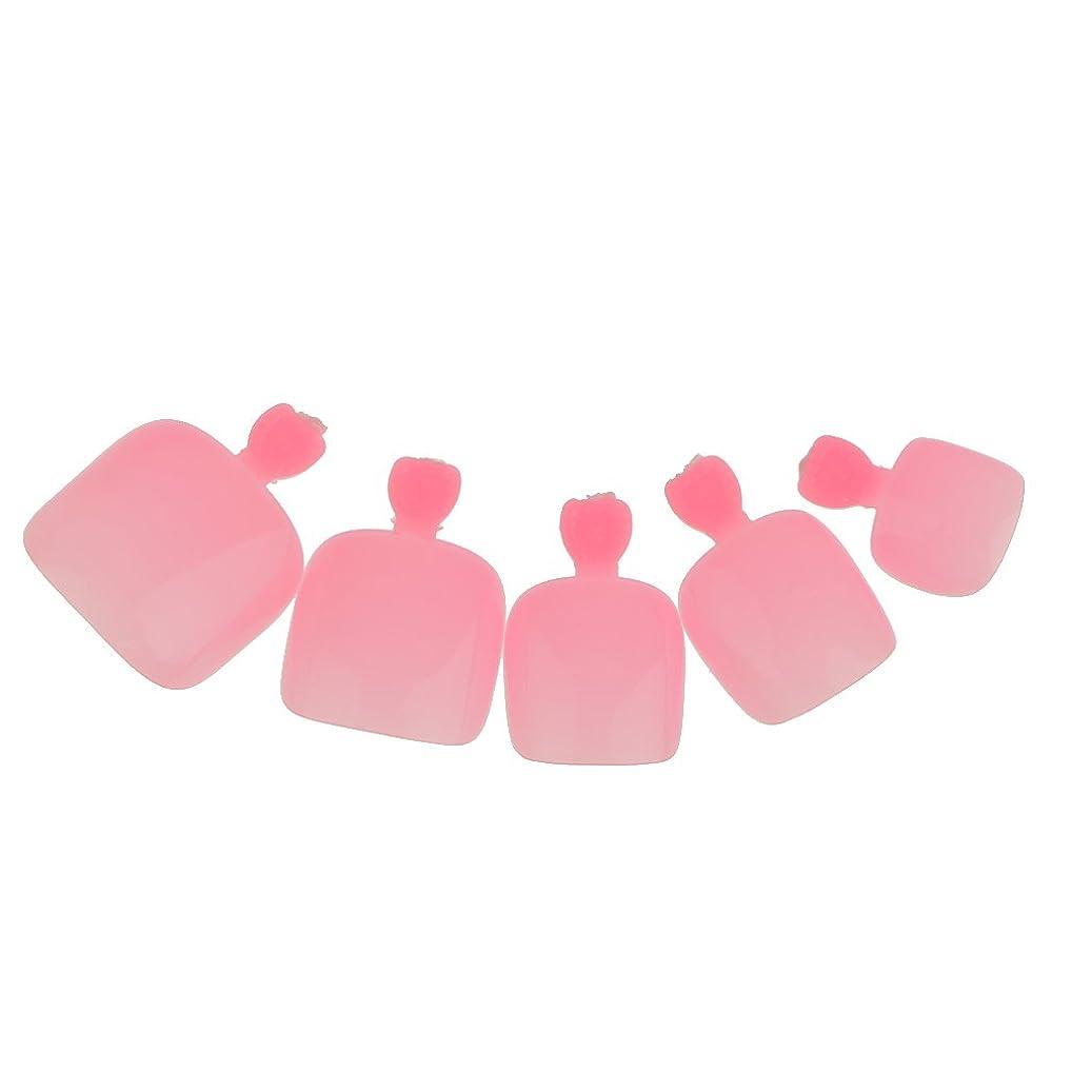 ベルベット蓋面倒【ノーブランド品】 24個 フルカバー ペディキュア 人工 ネイルアート ヒント 全14色選べる - ピンク