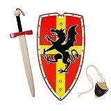 HERALDUM Spada e scudo per bambino in legno, cavaliere medievale templare, armi giocattolo per bambini.