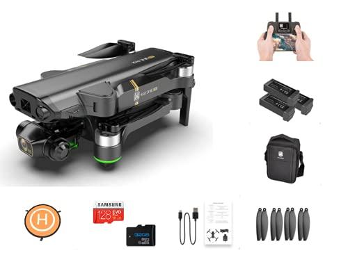 SPACE Quadcopter Drone - Fotocamera Gimbal a 3 assi - Fotocamere 8K Video 4K 5G GPS - Include scheda SD da 128 GB, zaino, spazio di atterraggio, telecomando - Tempo di volo prolungato