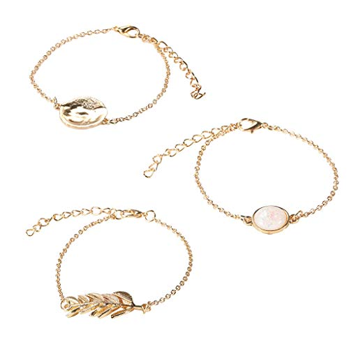 YU-HELLO_3Pcs Vintage Golden Chain Imitation Opal Stone Leaves Round Discs Charm Bracelet