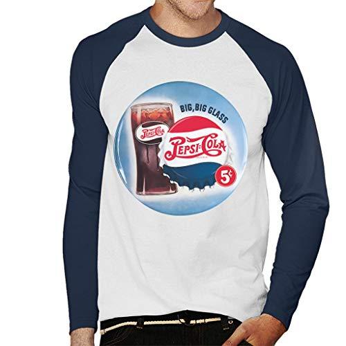 Pepsi Cola Retro Big Glass Men's Baseball Long Sleeved T-Shirt