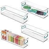 mDesign Juego de 4 cajas de plástico con asas – Organizador transparente estrecho con diseño atractivo – Ideales cajas organizadoras para guardar cosméticos en el baño – transparente/azul