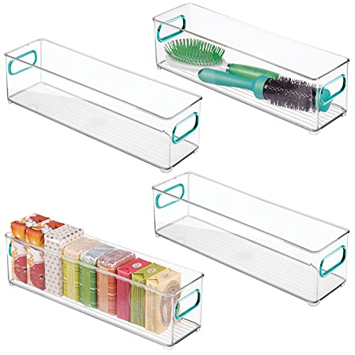 mDesign 4er-Set Ablagebox mit integrierten Griffen – schmale Aufbewahrungsbox mit ansprechendem Design – ideal zur Kosmetikaufbewahrung im Bad – durchsichtig/blau