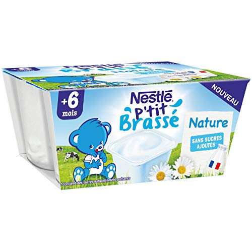 Nestlé Bébé P'tit Brassé Nature sans sucres ajoutés - Laitage dès 6 mois - 4 x 100g