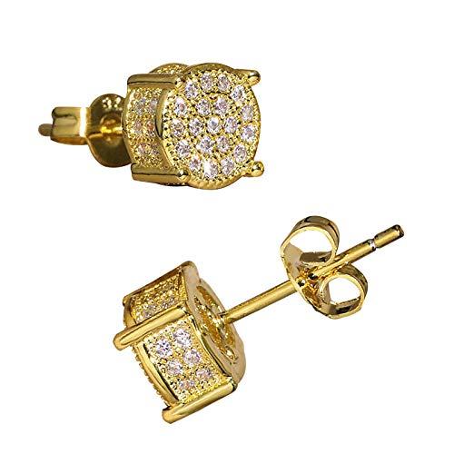 LEEQ Orecchini a bottone con zirconi Orecchini a bottone con cristalli di ghiaccio rivestiti in oro 14K platino 5A CZ Orecchini a bottone Orecchini a bottone Hip Hop (oro)