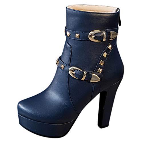 VJGOAL Dameslaarzen met hak High Heels grote maten laarzen vrouwen Wild Party ronde hoofd dik met waterdichte booties