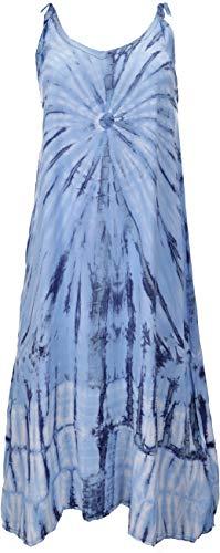 Guru-Shop sukienka batik, sukienka plażowa, letnia sukienka w dużych rozmiarach, damska, niebieska, syntetyczna, rozmiar: uniwersalny, długa i midi, alternatywna odzież