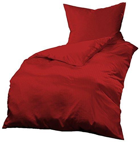 Gerald Wittmann Juego de Funda Nórdica Cama/Edredón Sirsaca de Microfibra, Unicolor/Monocolor, Rojo, 140x200 cm + 70x90 cm