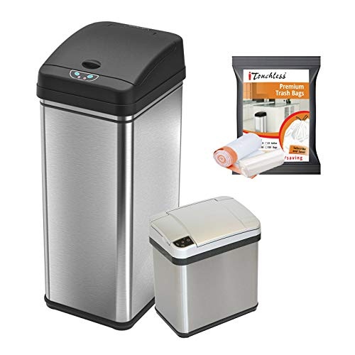 iTouchless 13 Gallon and 2.5 Gallon Automatic Touchless Sensor Kitchen Cans with Odor Control System, Stainless Steel, Includes 10 Premium Bags