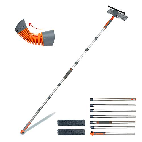 Professional Window Squeegee Cleaner, 2 in 1 Shower Squeegee with Extension Pole, 105'' Telescopic Window Washing Equipment with Bendable Head, Glass Cleaning Tools for Indoor/Outdoor High Window