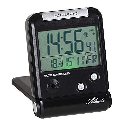 Atlanta Funkwecker Digital LCD-Anzeige Reisewecker mit Klappe Temperatur Schwarz - 1806/7