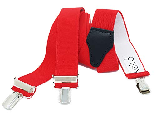 Xeira Hosenträger für Damen stabilen 3 Clips und echt Leder Rückenteil (110cm, Rot)