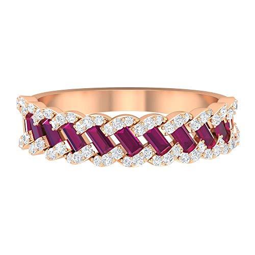 Anillo de rodolita de corte baguette de 1,5 x 3 mm, banda de diamante HI-SI, banda de eternidad completa, anillo de boda de oro (calidad AAA), 14K Oro rosa, Size:EU 53