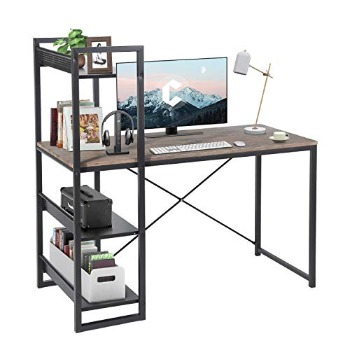 FurnitureR Mesa de estudio de escritura de estilo moderno con estanterías de 4 niveles, escritorio de oficina en el hogar, escritorio de juegos compacto, estación de trabajo de...