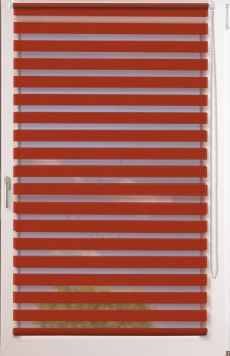 Doppelrollo Uni als Maßanfertigung ~ OHNE Bohren ~ Farbe: orientrot ~ Stoffbreite: 40 bis 50cm x Höhe bis 150 cm