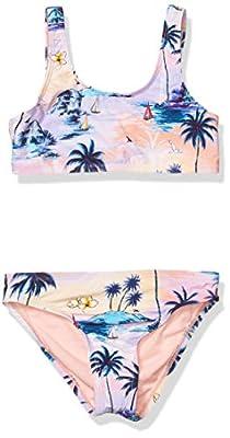 Hobie Girls' Big Tank Bralette Bikini Top and Hipster Bottom Swimsuit Set, Multi//Island Dream, 12