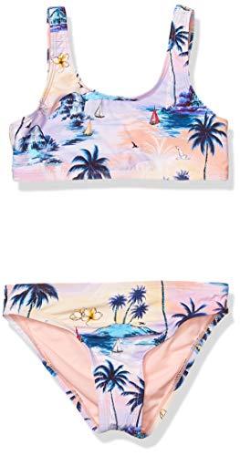 Hobie Mädchen Tank Bralette Bikini Top and Hipster Bottom Swimsuit Set Zweiteiliger Badeanzug, Multi//Inseltraum, 38 DE